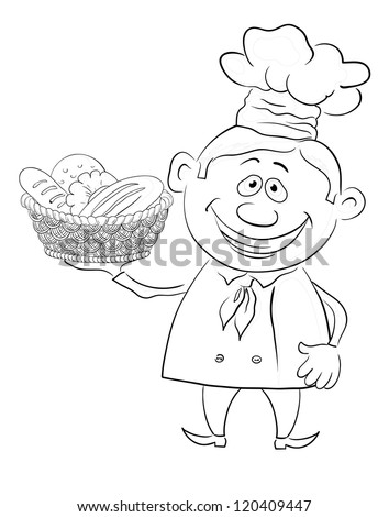 Cartoon cook - chef with a basket of bread, black contour on white background. Vector illustration - stock vector