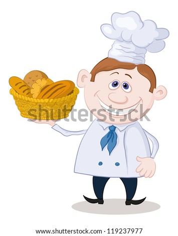 Cartoon cook - chef with a basket of fresh bread, isolated on white background. Vector - stock vector
