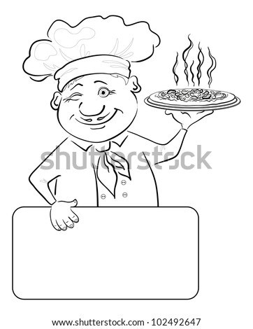 Cartoon cook - chef with delicious hot pizza and poster, free for your text, black contour on white background. Vector illustration - stock vector