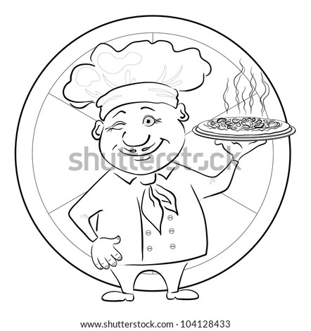 Cartoon cook - chef with delicious hot pizza on a circular background, black contour on white background. Vector illustration - stock vector
