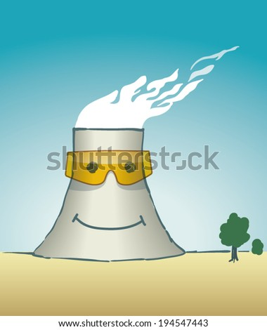 Cartoon cooling tower - stock vector