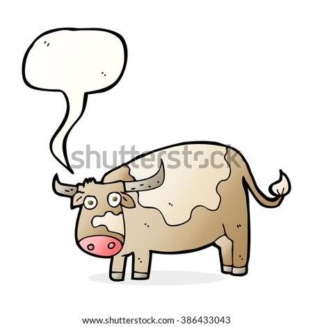 cartoon cow with speech bubble - stock vector