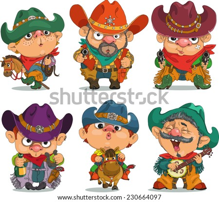 Cartoon  cowboy.                                                                            Funny cartoon. Characters. Cowboy set. Isolated objects. - stock vector