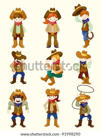 cartoon cowboy icon - stock vector