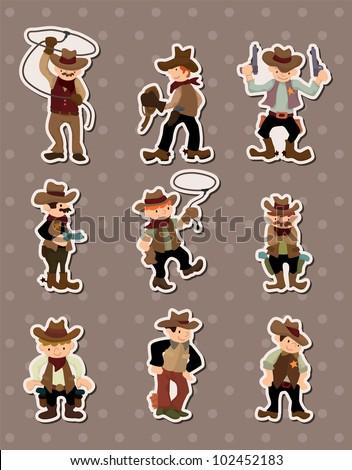 cartoon cowboy stickers - stock vector