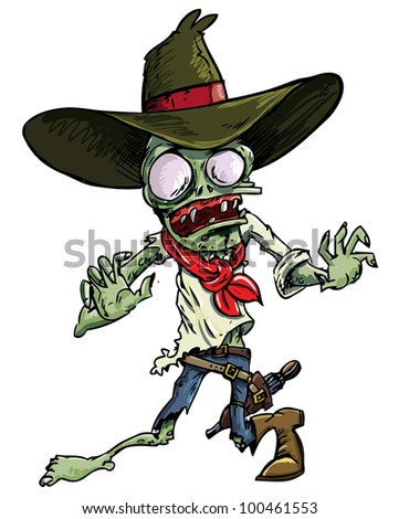 Cartoon cowboy zombie with gun belt and hat. Isolated on white - stock vector