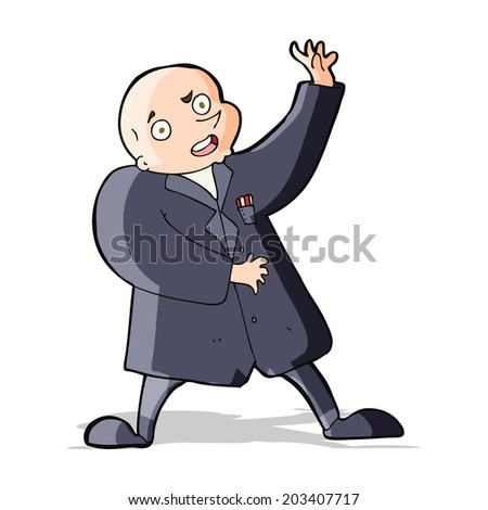 cartoon crazy bald man - stock vector