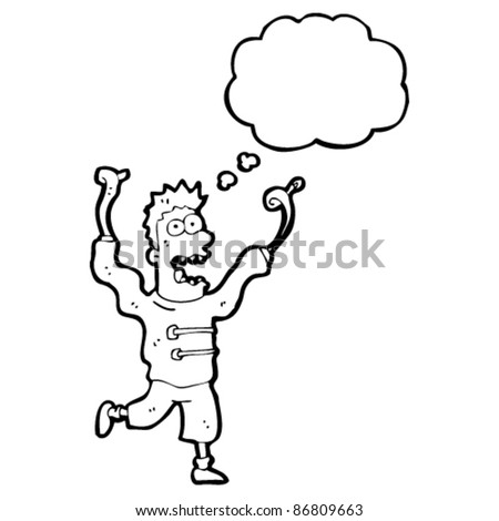 cartoon crazy madman with thought bubble - stock vector