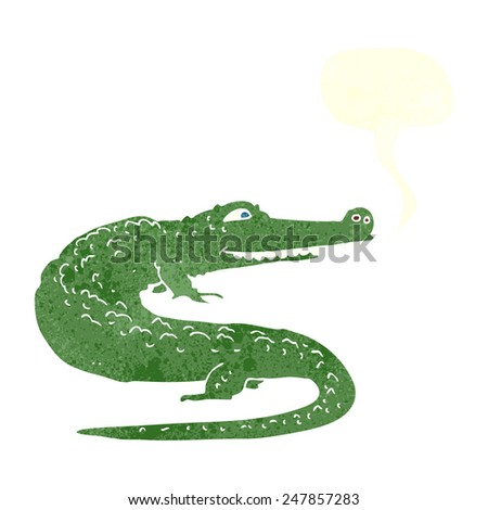 cartoon crocodile with speech bubble - stock vector