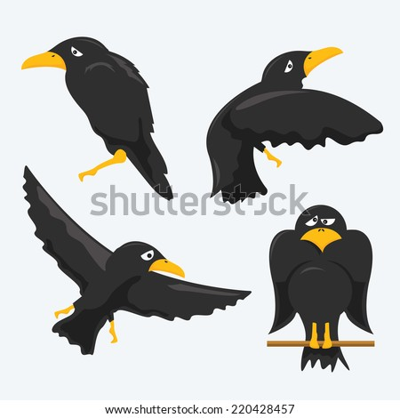 cartoon crows - stock vector