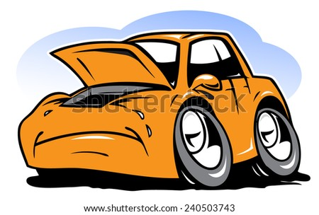 Cartoon crying car - stock vector
