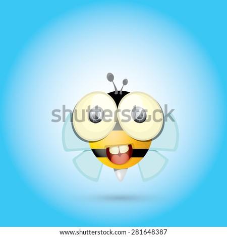 cartoon cute bright baby bee. vector illustration - stock vector