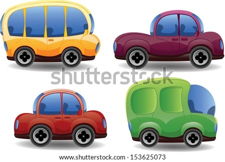 Cartoon cute cars - stock vector