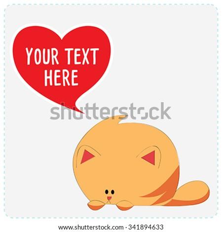 Cartoon cute cat with heart symbol. Vector Illustration - stock vector