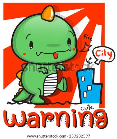 Cartoon cute dinosaur in city town vector. - stock vector