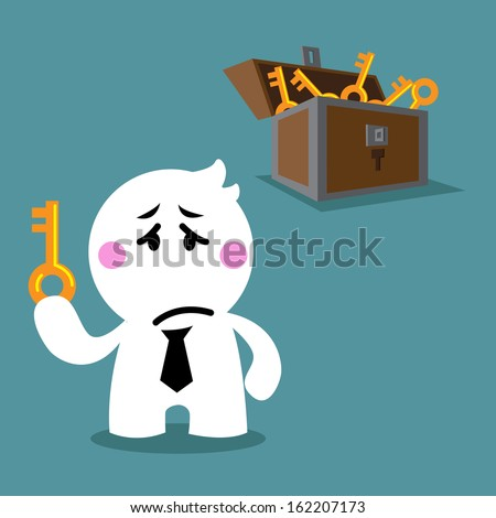 cartoon cute disappointed, sad, unhappy business man holding the key after unlocked chest met the same keys  - stock vector