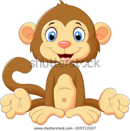 Cartoon cute monkey sitting - stock vector