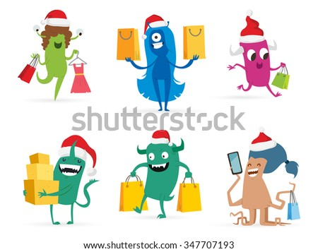 Cartoon cute monsters Christmas sale shopping vector. Shopper Christmas sale monsters cartoon. New Year sale bag icon, cute monster set. Monster shopping Christmas sale bag. Cartoon cute monster sale - stock vector