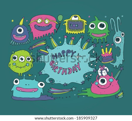 Cartoon cute monsters, monster party card design vector illustration, hand drawn - stock vector