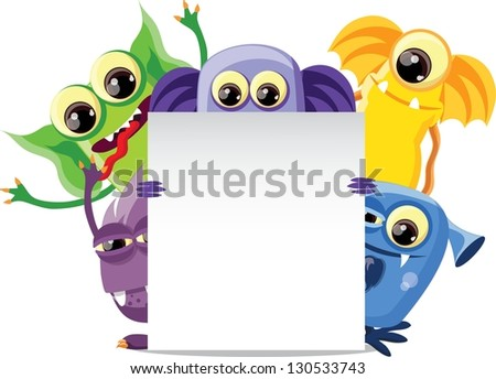 Cartoon cute monsters on a white background - stock vector