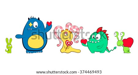Cartoon cute monsters with hearts. Friendly monster. For Valentine's Day, Birthday. Isolated background. - stock vector