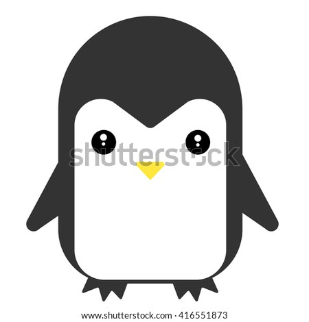 Cartoon cute penguin vector flat illustration. - stock vector