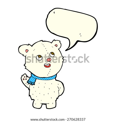 cartoon cute polar bear cub with speech bubble - stock vector