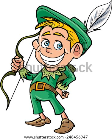 Cartoon cute Robin Hood. Isolated on white - stock vector