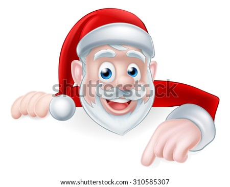 Cartoon cute Santa Claus Christmas illustration with Santa pointing down at a sign or message - stock vector