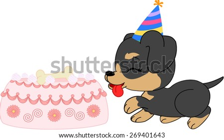 Cartoon dachshund  girl puppy with birthday cake.   - stock vector