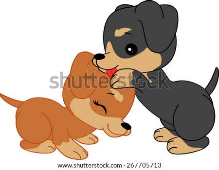 Cartoon dachshunds are hugging - stock vector