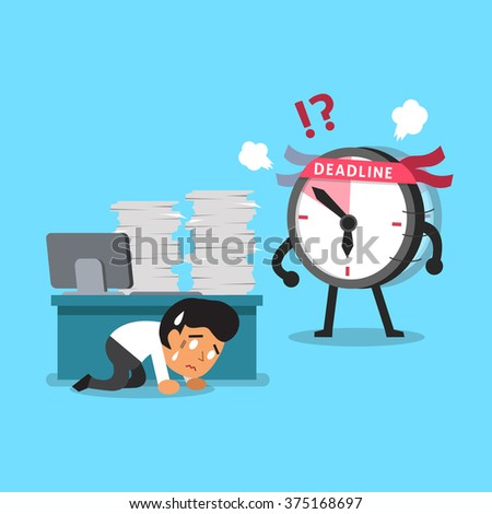 Cartoon deadline clock character finding businessman - stock vector