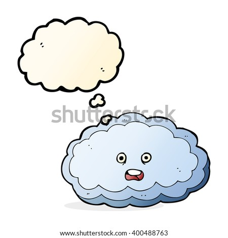 cartoon decorative cloud with thought bubble - stock vector