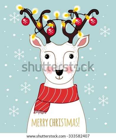 Cartoon deer with awesome decorated antlers, Christmas balls and garland. Lovely winter concept design in vector. Sweet deer wish you a Merry Christmas! - stock vector