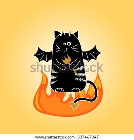 Cartoon devil cat. Doodle vector illustration.  - stock vector