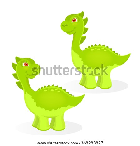 Cartoon dinosaur characters set - stock vector