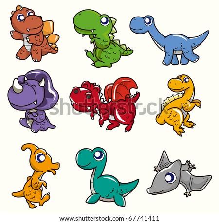 cartoon Dinosaur icon - stock vector