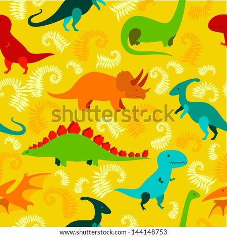 Cartoon dinosaur vector seamless pattern. - stock vector