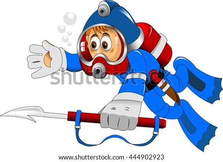 cartoon diver boy surprised face on the deep sea - stock vector