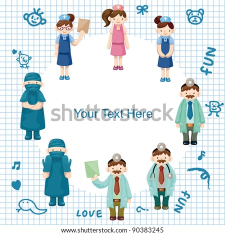 cartoon doctor and nurse card - stock vector