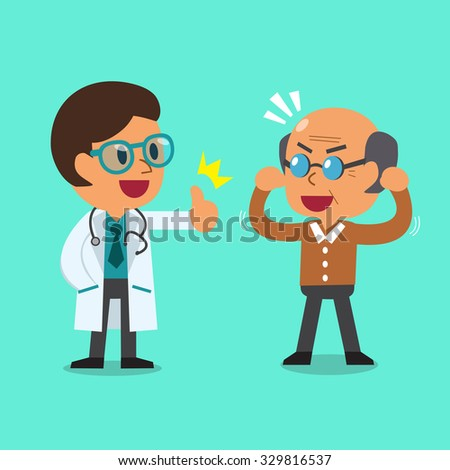 Cartoon doctor and old man - stock vector