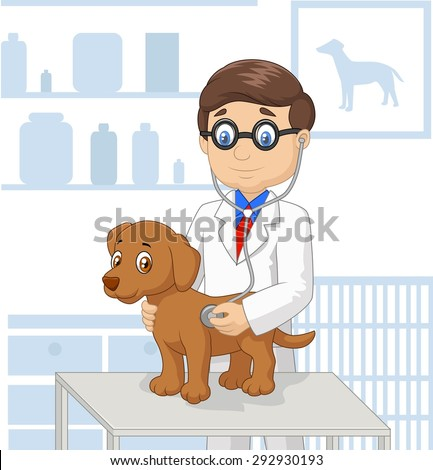 Cartoon doctor check the health dog - stock vector