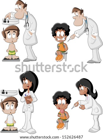 Cartoon doctors checking boy's weight on weighing scale and giving an injection in arm. Vaccinating, allergy or flu shot by syringe. - stock vector