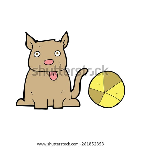 cartoon dog and ball - stock vector