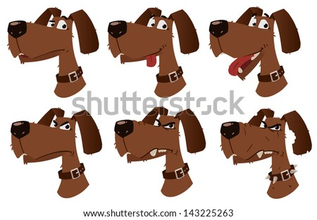 cartoon dog emotions. character design - stock vector