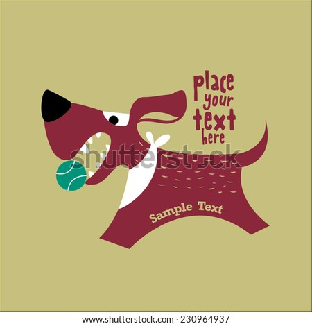 Cartoon dog illustration with text space/ Card template with dog vector - stock vector