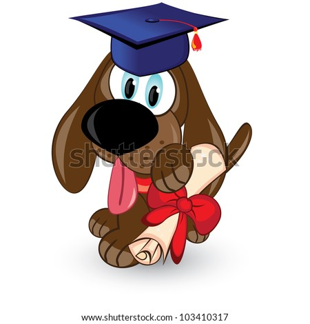 Cartoon dog is a graduate of. Illustration on white background. - stock vector