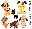 Cartoon dog set - stock vector