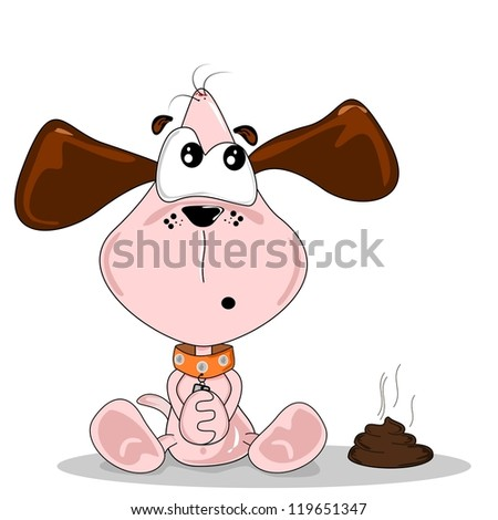 Cartoon dog sitting next to a pile of dog dirt - stock vector