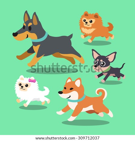 Cartoon dogs running collection - stock vector